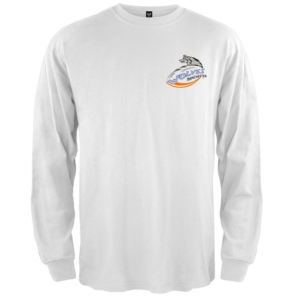 Manchester Wolves - Crest Logo White Long Sleeve T-Shirt