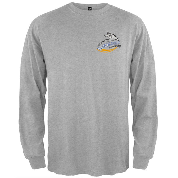 Manchester Wolves - Crest Logo Grey Long Sleeve T-Shirt