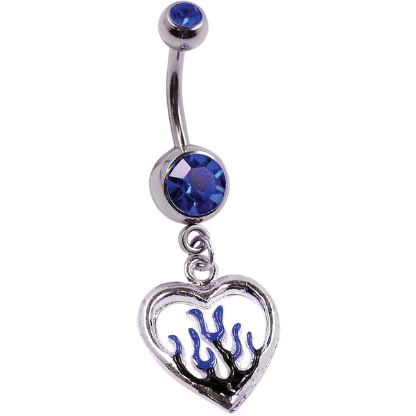 14G 3/8 Blue Flaming Heart Charm Curved Barbell