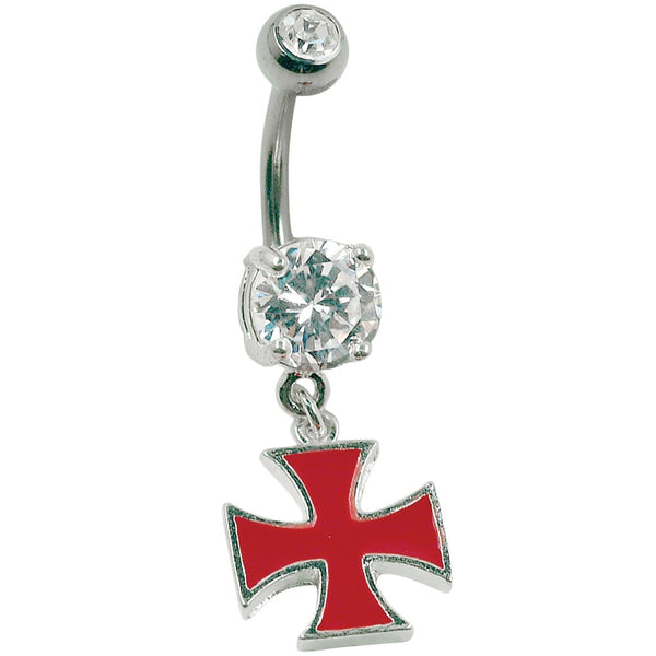 14G 3/8 Red Iron Cross Charm Curved Barbell