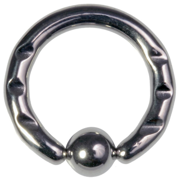 10G 1/2 316L Steel Front Notched Captive Ring