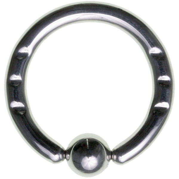 8G 5/8 316L Steel Front Notched Captive Ring