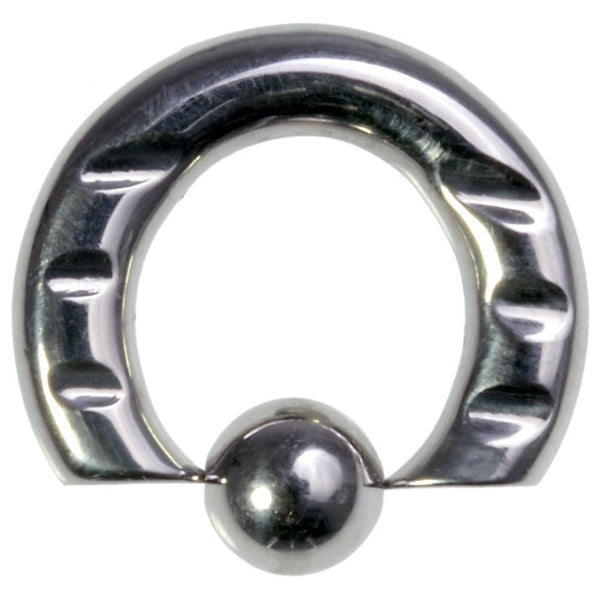 6G 1/2 316L Steel Front Notched Captive Ring