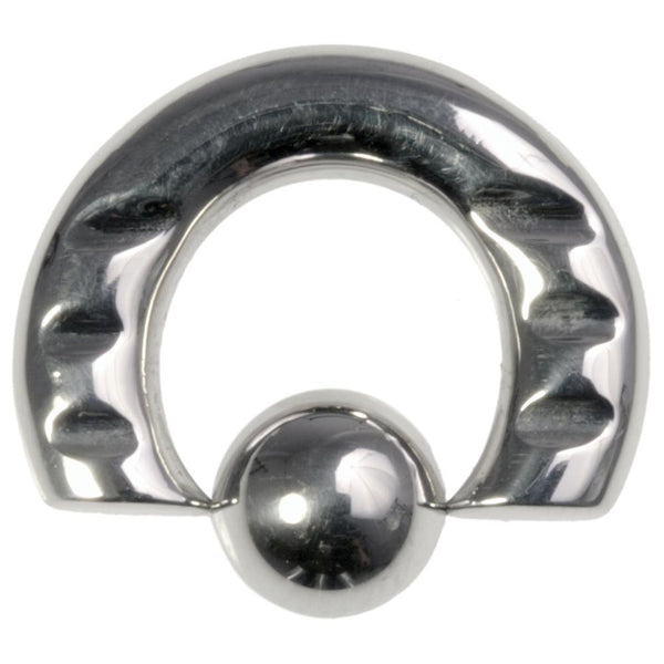 4G 1/2 316L Steel Front Notched Captive Ring