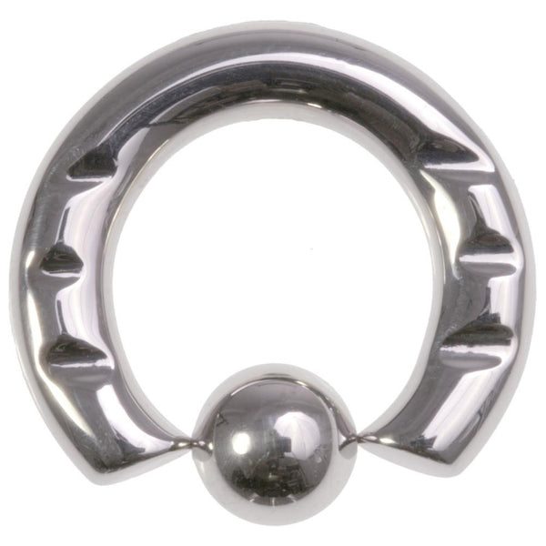 4G 5/8 316L Steel Front Notched Captive Ring