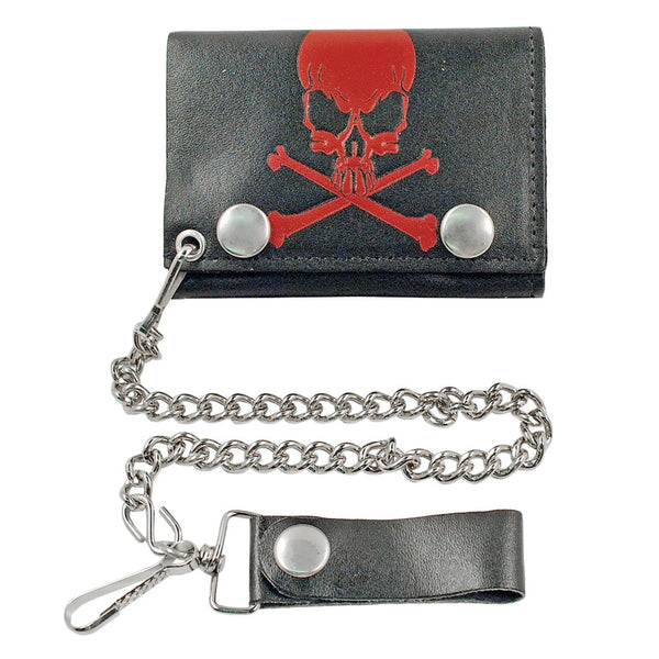 4 Red Skull & Crossbones Tri-fold Wallet