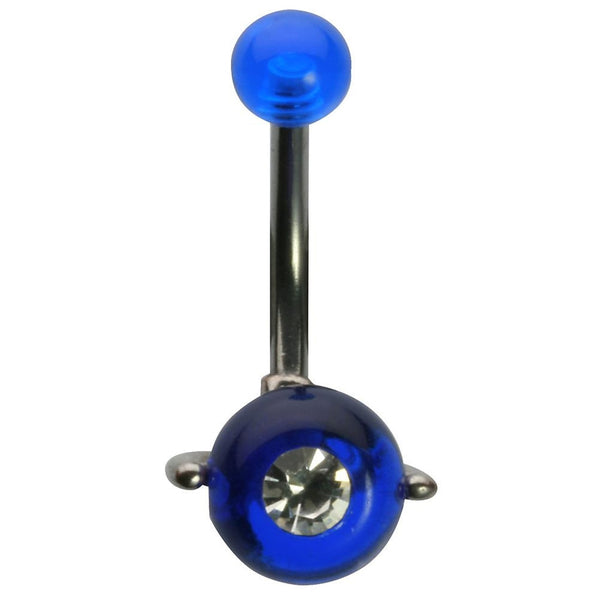 14G 3/8 Blue UV W/ Jewel Spin Ball Curved Barbell