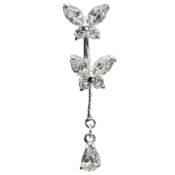 14G 7/16 Butterfly Gem Curved Barbell Dangle
