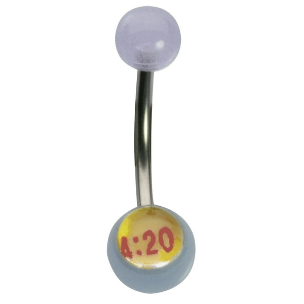 14G 7/16 420 Glow Ball Curved Barbell