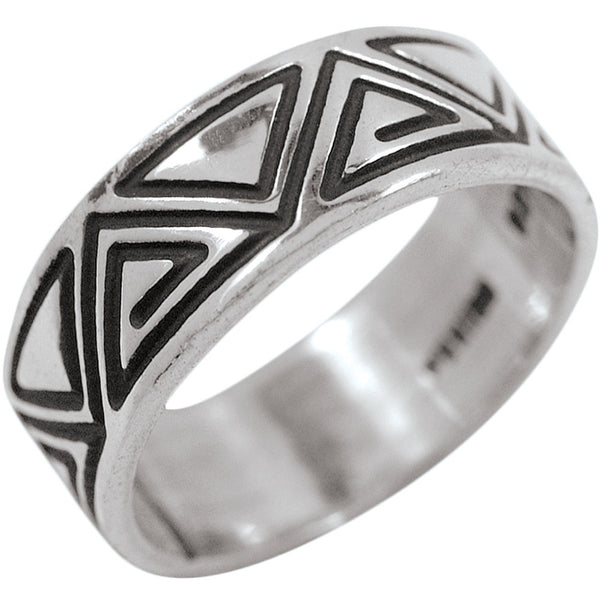 Pyramids Band .925 Sterling Silver Ring