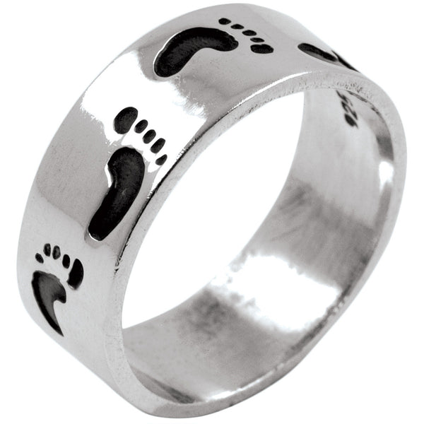 Footprints Band Sterling Silver Ring