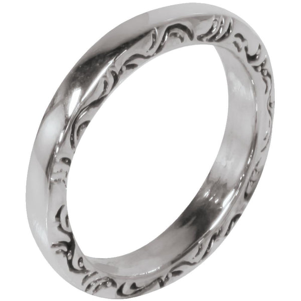Side Etched Tribal Symbols Band Ring