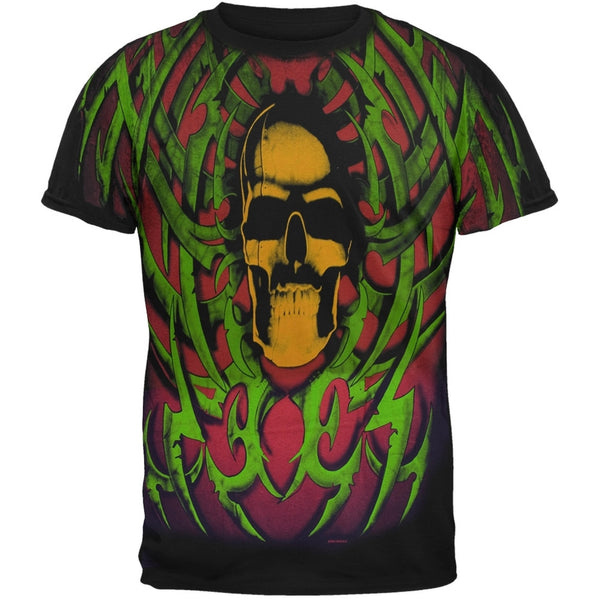 Tribal Skull Green/Red T-Shirt