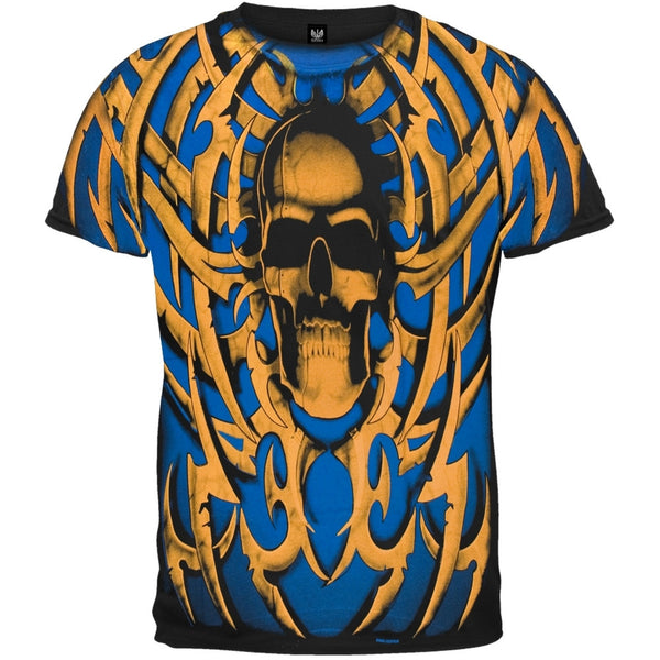 Tribal Skull Blue/Orange T-Shirt
