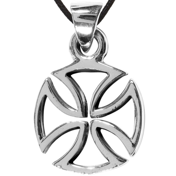 Die Cut Circle Iron Cross Sterling Silver Pendant