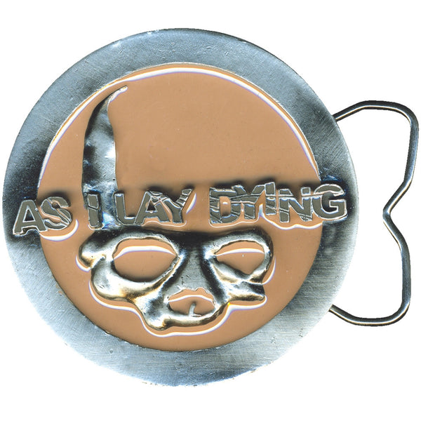 As I Lay Dying - Circle Skull Tan Belt Buckle