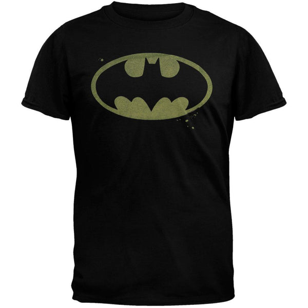Batman - Distressed Logo Black T-Shirt