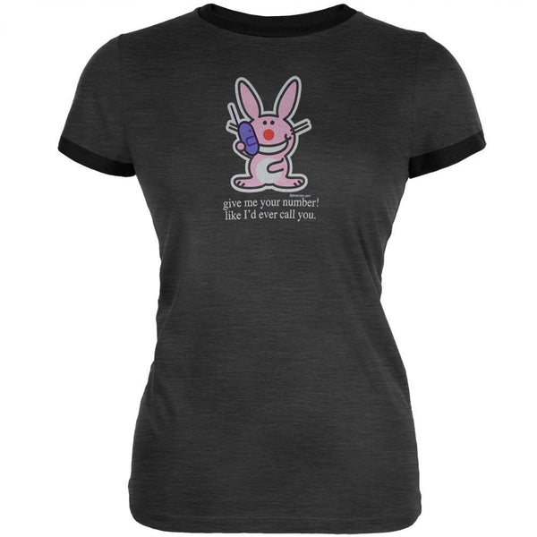 Happy Bunny - Give Number Juniors Ringer T-Shirt