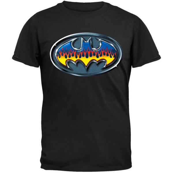 Batman - Flaming Metal Logo T-Shirt