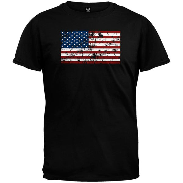 Distressed American Flag Black T-Shirt