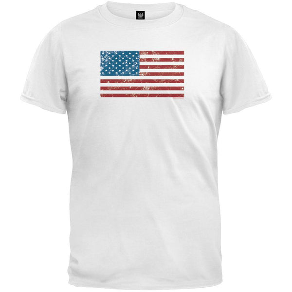 Distressed American Flag White T-Shirt