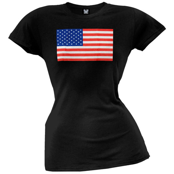 American Flag Black Juniors T-Shirt