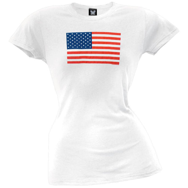 American Flag White Juniors T-Shirt