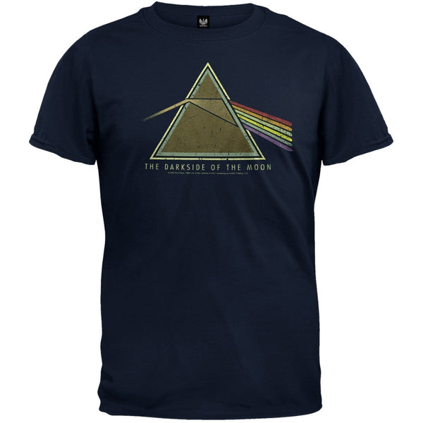 Pink Floyd - Dark Side Distressed Navy Blue T-Shirt