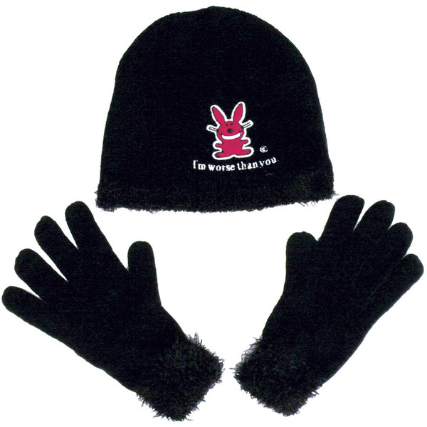Happy Bunny - Worse Than You Hat & Glove Set