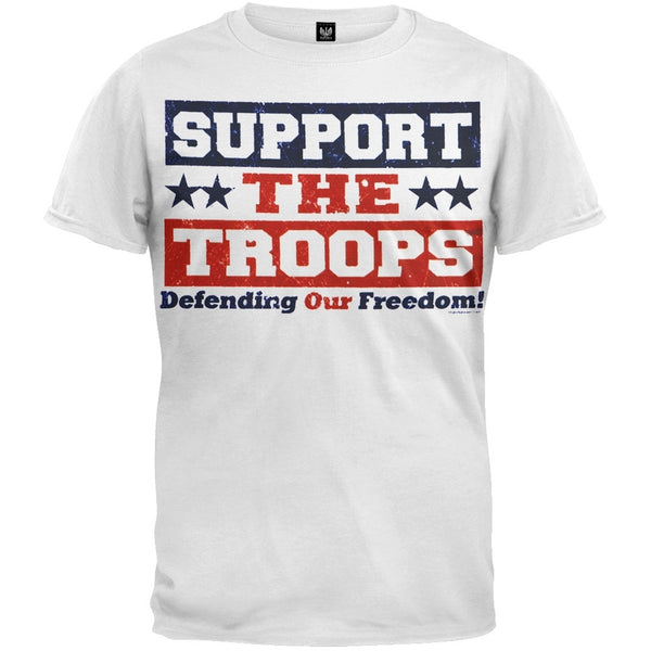 Support The Troops White Adult T-Shirt