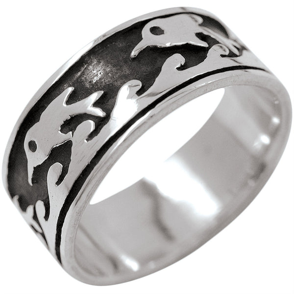 Dolphins & Waves - Silver Ring
