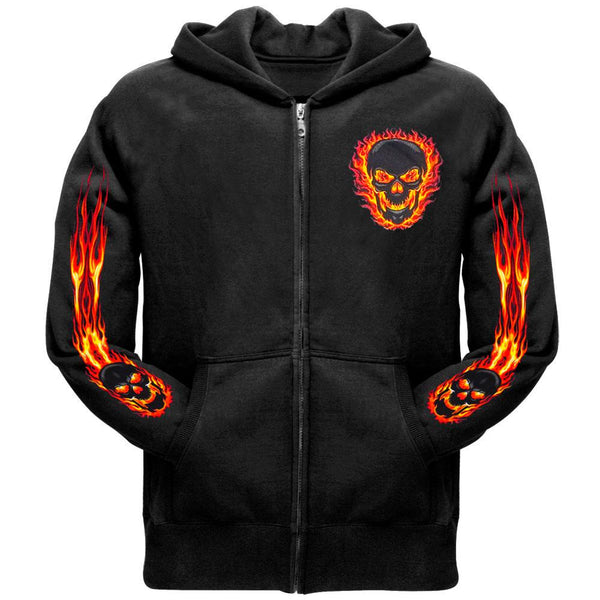 Black Out Skull and Flames Zip Hoodie