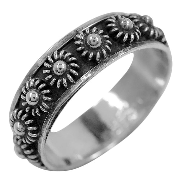 Floral Band Sterling Silver Ring