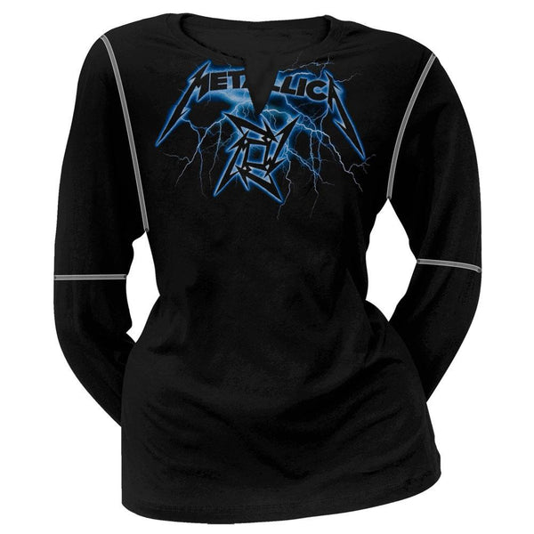 Metallica - Lightning V Neck Juniors Long Sleeve T-Shirt