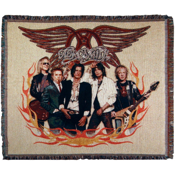 Aerosmith - Group Flames Throw Blanket