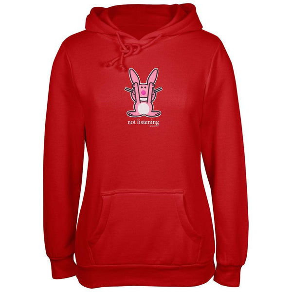 Happy Bunny - Not Listening Red Ladies Hoodie