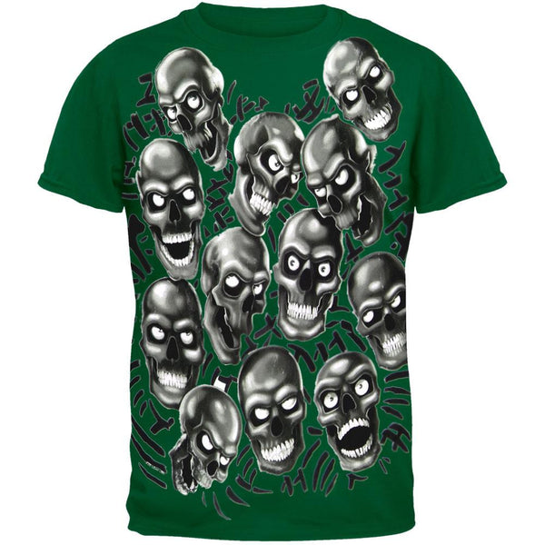 Skull Pile Heap Green T-Shirt