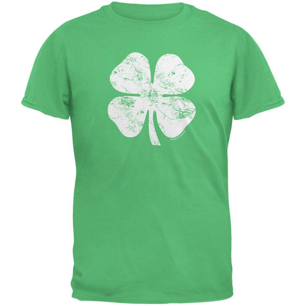 Large Distressed Shamrock Irish Green Adult T-Shirt