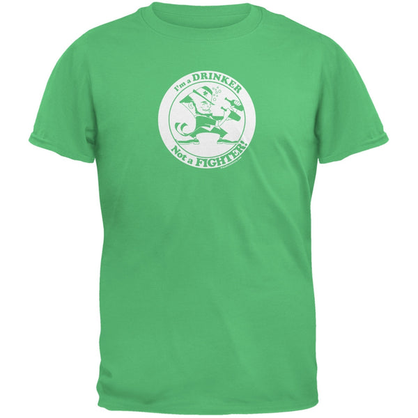 I'm A Drinker Not A Fighter Irish Green Adult T-Shirt