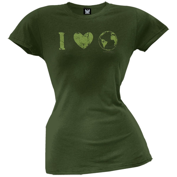 Earth Day - I Heart The Earth Distressed Juniors T-Shirt