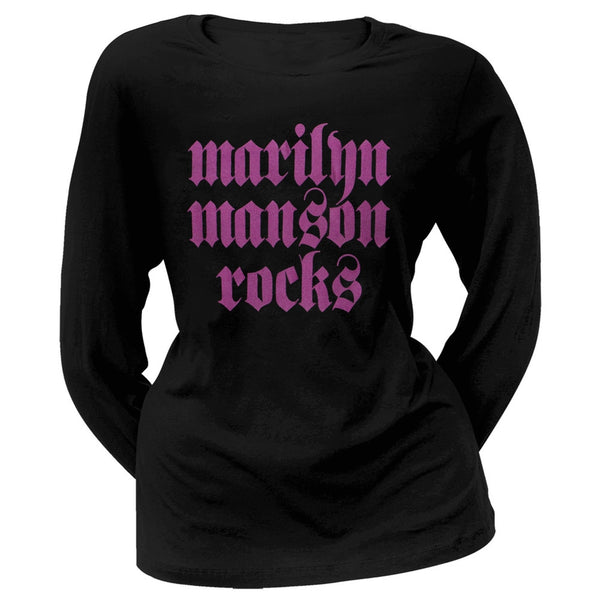 Marilyn Manson - Manson Rocks Juniors Long Sleeve T-Shirt
