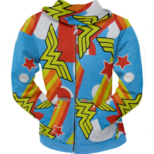 Wonder Woman - All-Over Logo Juniors Zip Hoodie
