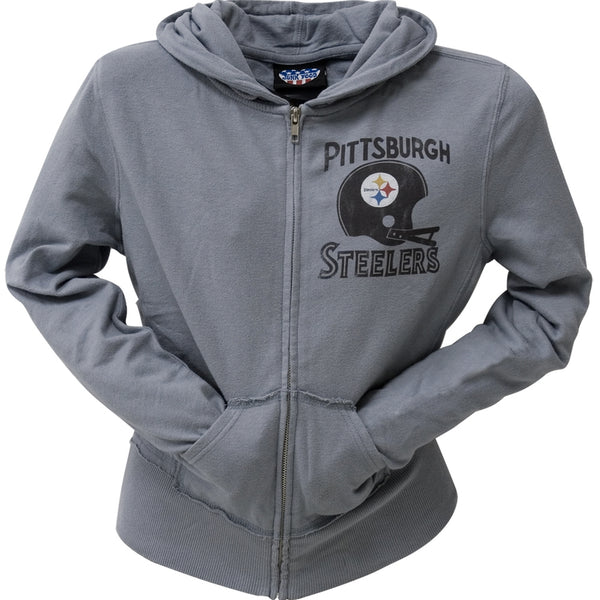 Pittsburgh Steelers - Distressed Helmet Juniors Zip Hoodie