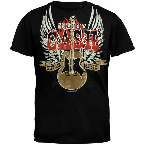 Johnny Cash - Outlaw Music Logo Black Adult T-Shirt