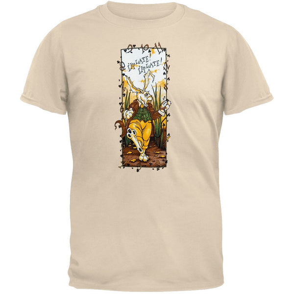 Alice In Wonderland - Late Rabbit - Tan T-Shirt