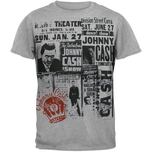 Johnny Cash - Grey Newsprint Soft T-Shirt