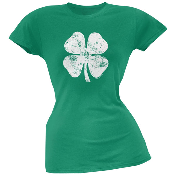 Large Distressed Shamrock Kelly Soft Juniors T-Shirt