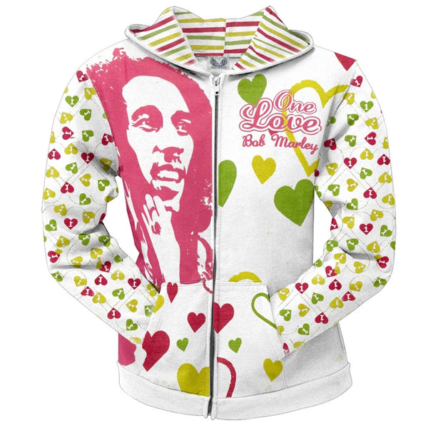 Bob Marley - One Love All Over Juniors Zip Hoodie