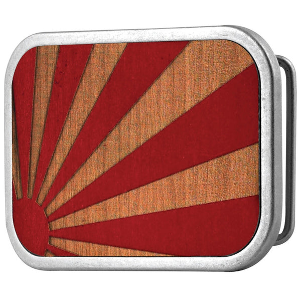 Rising Sun Red Guilded Wood Belt Buckle