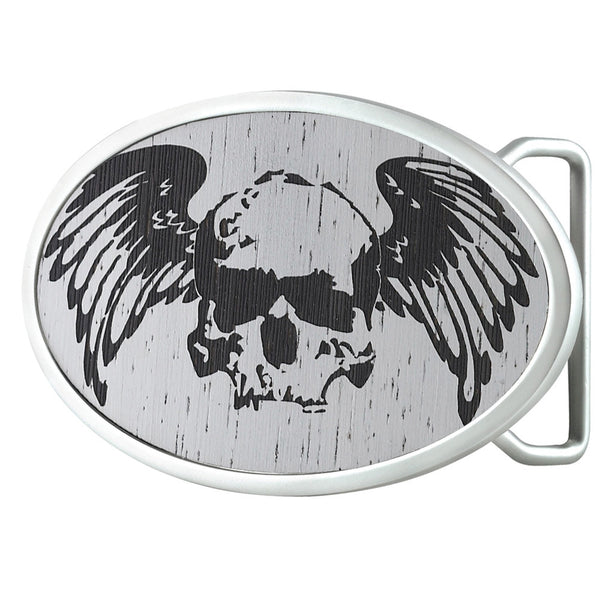 Winged Skull - Oval Belt Buckle